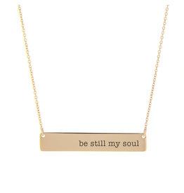 Be Still My Soul Bar Necklace Rose Gold