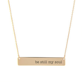 Be Still My Soul Bar Necklace Rose Gold