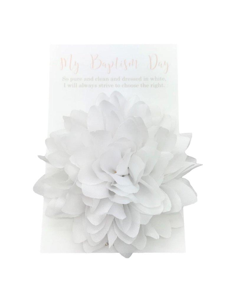 Baptismal Hair Flower White Aubree - My Baptism Day