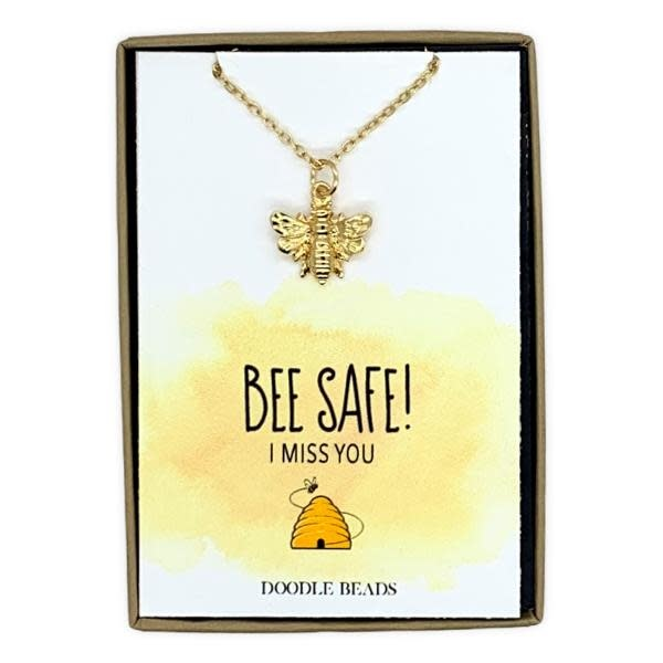 Bee Safe, I Miss You! Bee Necklace With Quote Card