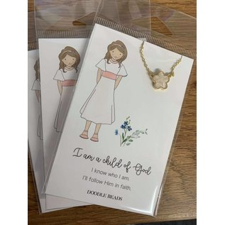 I am a Child of God Flower Necklace with Card Quote, Baptism Necklace