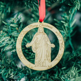 "LDSBookstore (USA) Christus Wooden Hanging Ornament ""Merry Christmas"""