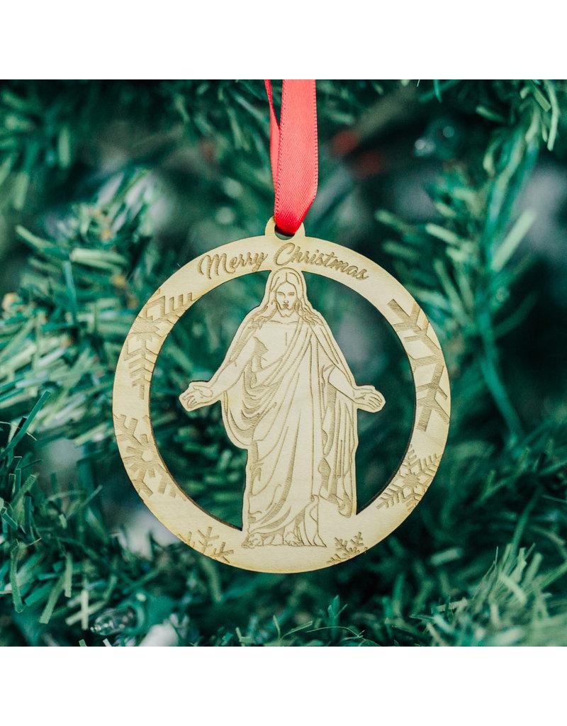 "Christus Wooden Hanging Ornament ""Merry Christmas"""