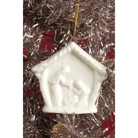 Seagull Books ACCENT HOLY FAMILY ORNAMENT WHITE PORCELAIN 3 IN