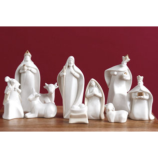 Seagull Books ACCENT NATIVITY 10 PC WHITE TAUPE 6 INCH