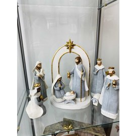 Seagull Books 9 Piece 10 Inch Accent Nativity Blue and Gold