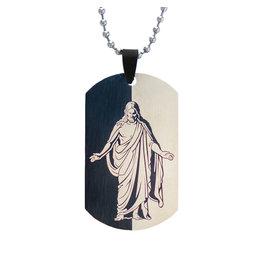 Christus Dog Tag Necklace - Black