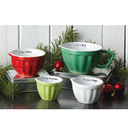 Deseret Book Compant (DB) Christmas Red & White Measuring Cups, Set of 4 - Special Offer - 16th to 23rd November
