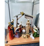 ACCENT NATIVITY 10 PC STABLE GOLD TRIM RESIN (12 Inches)