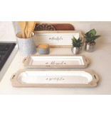 Blessed Table Tray White Wood