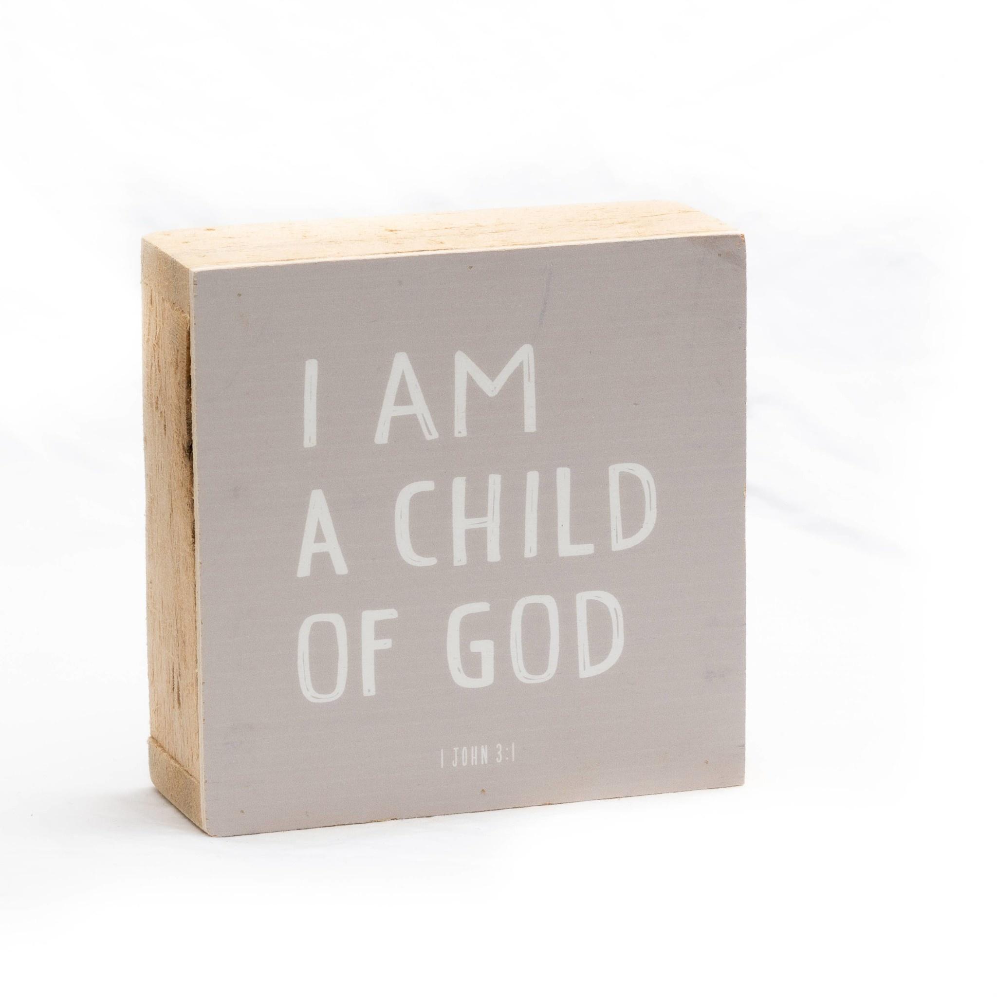 Revelation Culture 6 x 6 Kids Wood Block Sign   I am a child of God  Pink,