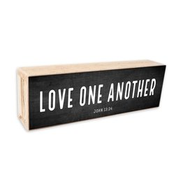 Revelation Culture Shelf Sitter | Love One Another  White Text on Black Background