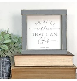 Faire: Clairmont & Co 5x5 Wood Sign-Be Still and Know