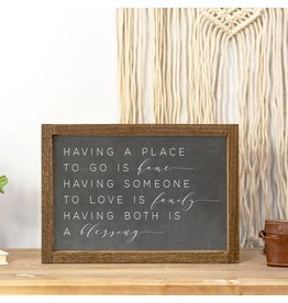 Faire: Clairmont & Co 8x12 Wood Framed Sign-Having Somewhere Home Black Chalk