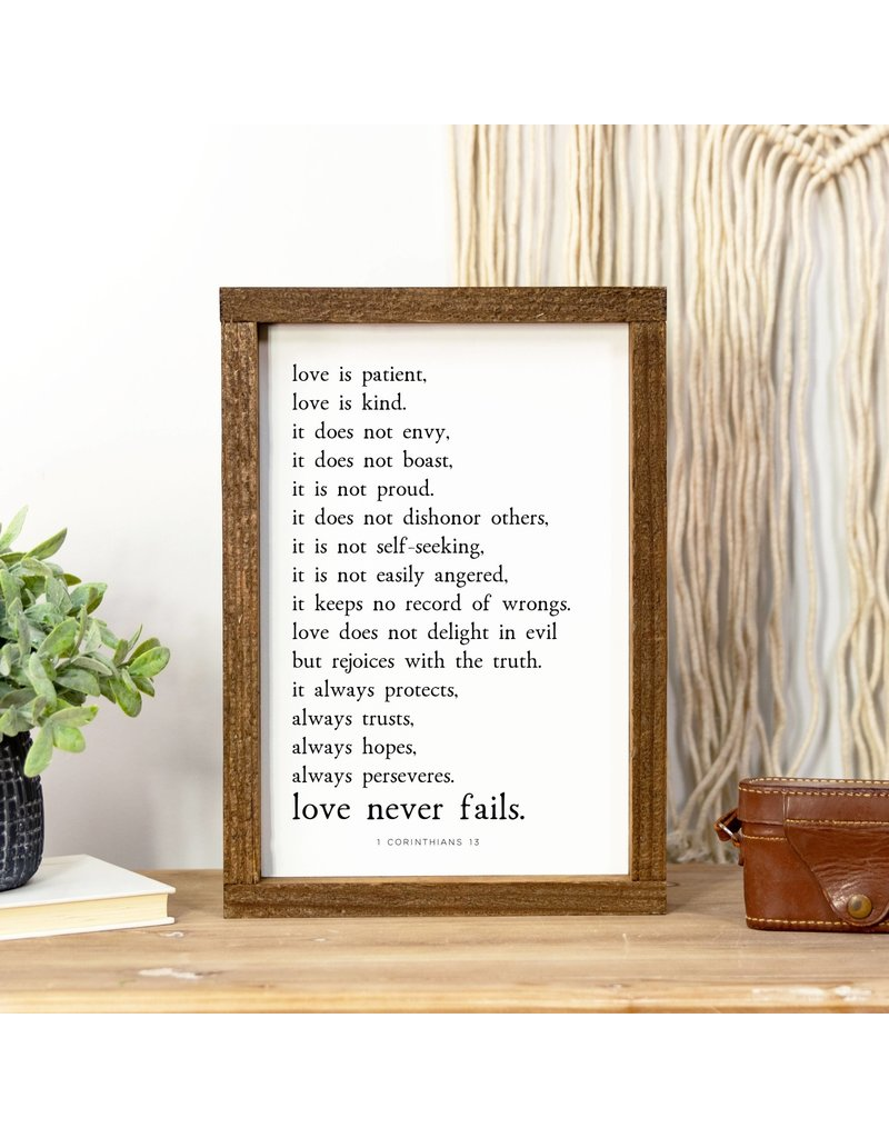 Faire: Clairmont & Co 8x12 Wood Framed Sign-Love Is Patient Love is Kind
