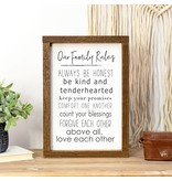 Faire: Clairmont & Co 8x12 Wood Framed Sign-Our Family Rules