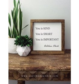 Faire: Clairmont & Co 8x8 Wood Framed Sign-You Is Kind You Is Smar