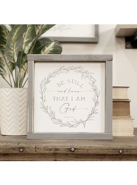 Faire: Clairmont & Co 8x8 Wood Sign-Be Still and Know