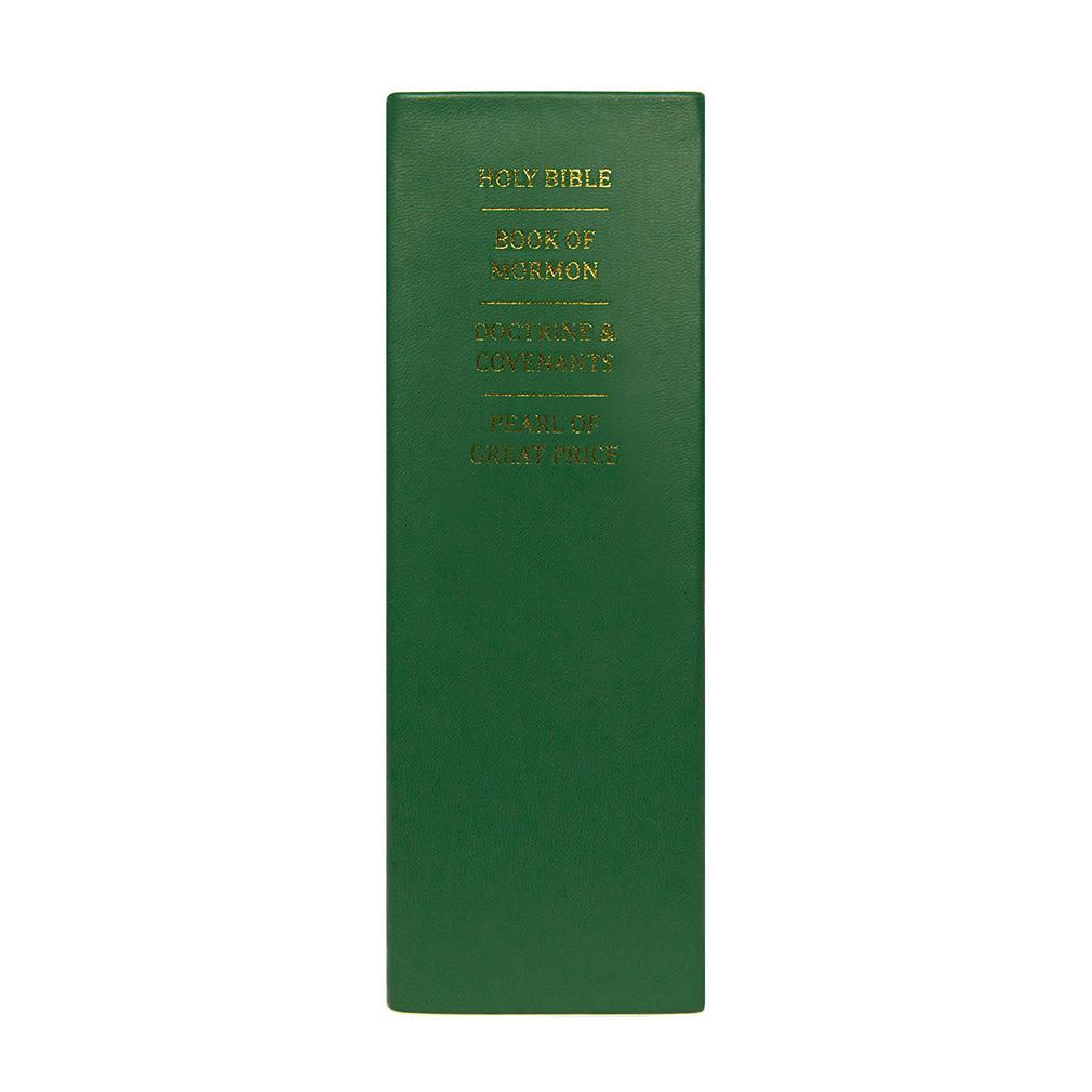 Hand-Bound Leather Quad - Emerald Green