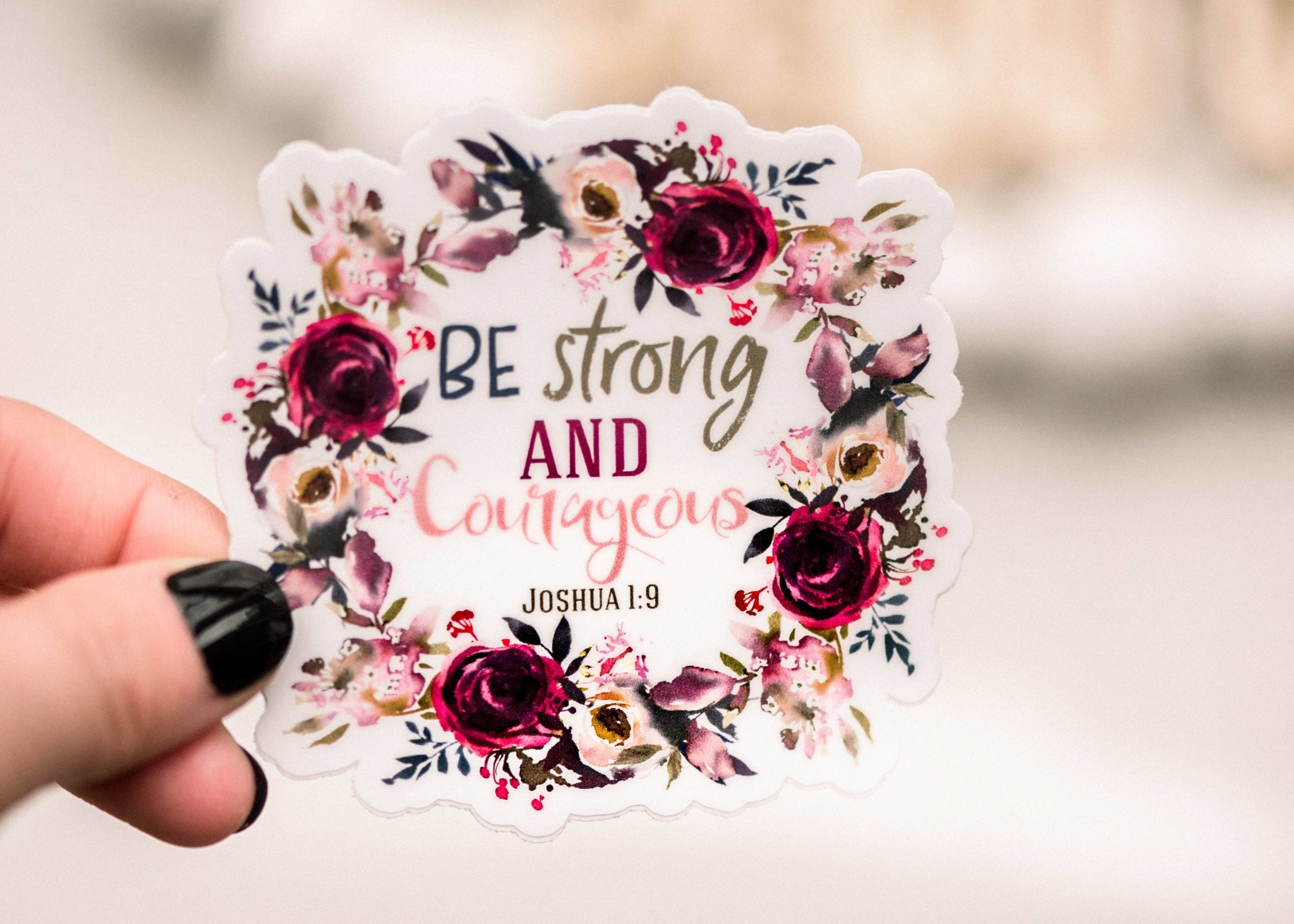 Faire: Savannah and James Co Be Strong And Courageous Christian Vinyl Sticker, 3x3 in