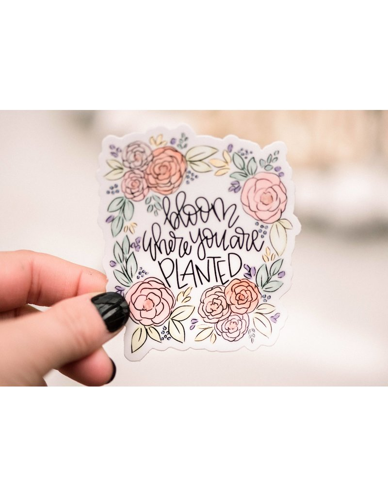 Faire: Savannah and James Co Bloom Where You Are Planted Vinyl Sticker, 3x3 in