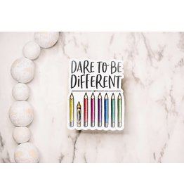 Faire: Savannah and James Co Dare To Be Different Clear, Vinyl Sticker, 3x3 in.