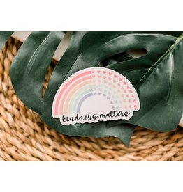 Faire: Savannah and James Co Kindness Matters Bright Rainbow Vinyl Sticker, 3x3