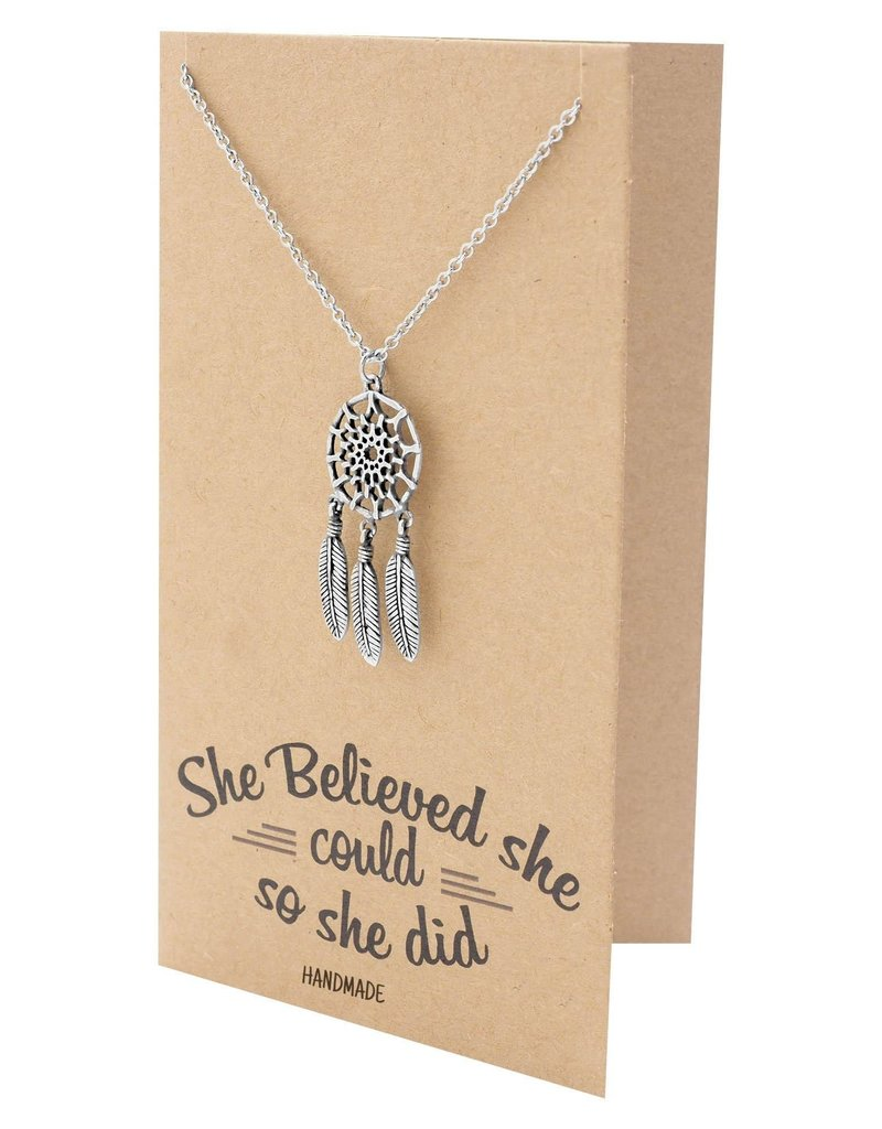 Faire: Quan Jewlery Jolyna Dream Catcher Necklace for Women, Graduation Gifts, Inspirational Jewelry and Greeting Card