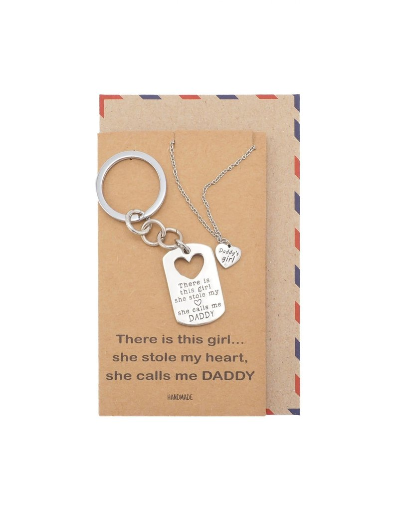 Faire: Quan Jewlery Earl Daddy's Girl Set, Engraved Heart Key chain and Necklace, Gift for Father