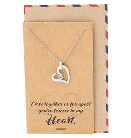 Faire: Quan Jewlery Fiona Love Heart Pendant Necklace, You're Forever in My Heart Greeting Card