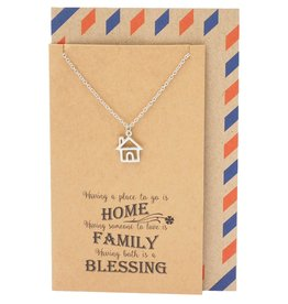 Faire: Quan Jewlery Kassidy Family Necklace with House Charm Pendant, Gifts for Mom, Sisters, Friends with Quote Card