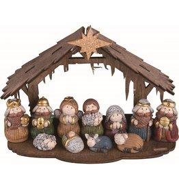 Faire: Transpac Resin Brown Faux Wood Mini Nativity Set