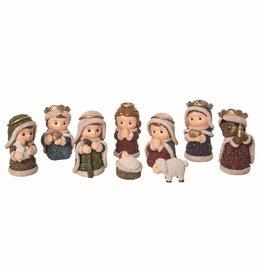 Faire: Transpac Resin Glitz Knit Nativity (9 Piece)