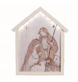 Faire: Transpac Wood White Light Up Nativity Manger Decor
