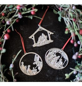 Faire: House of Morgan Pewter Pewter Nativity Christmas Ornament - Gift Set