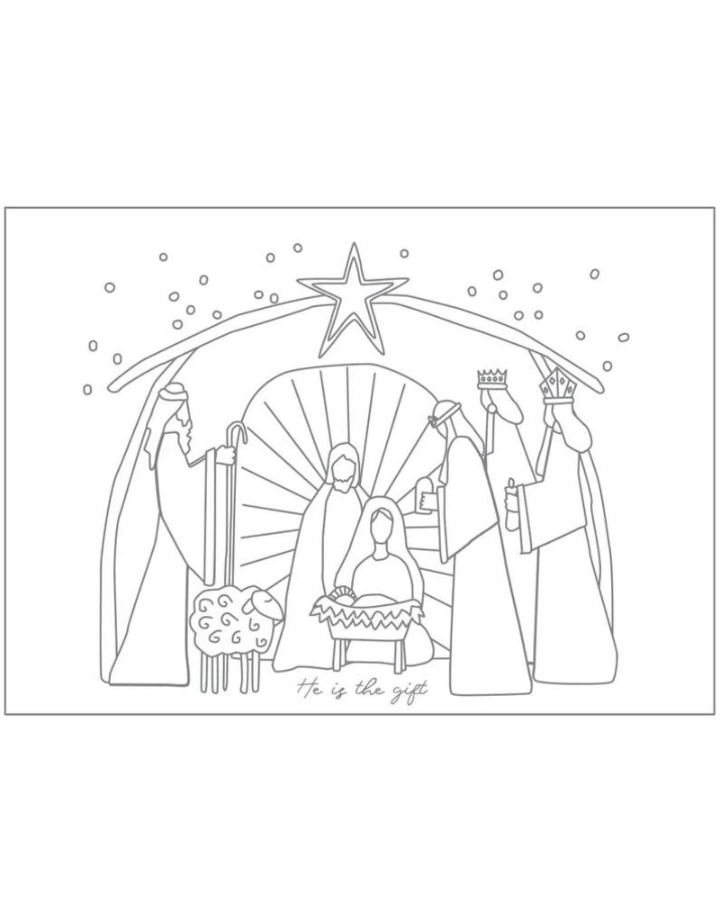 Hey Cute Design Nativity Colour In Card Pack (8 cards) by Diane Robison