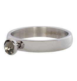 iXXXi Jewelry IXXXI Jewelry Vulring Zirconia 1 Stone Blackstone Zilverkleurig 4 mm