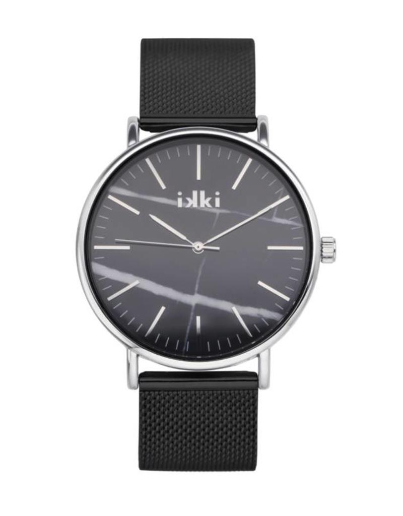 iKKi Horloges iKKi Amelle AM04 Zwart/Zilver/Zwart Marmer Horloge