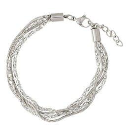 iXXXi Jewelry iXXXi Jewelry Ankle Strap Snake and 2 Popcorn Zilverkleurig
