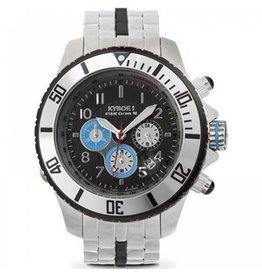 Kyboe! Horloges Kyboe METAL CHRONO STEEL BLACK DIAL SBC-004