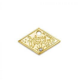 Mi Moneda Monogram MMM Wander Diamond Tag 20mm Goudkleurig