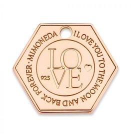 Mi Moneda Monogram MMM Love Hexagon Tag 20mm Rosé