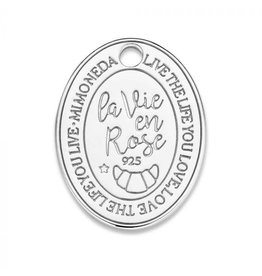 Mi Moneda Monogram MMM Rose Oval Tag 20mm 925 Zilver