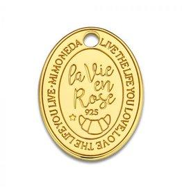Mi Moneda Monogram MMM Rose Oval Tag 20mm Goudkleurig