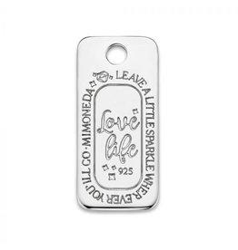 Mi Moneda Monogram MMM Love Life Square Tag 925 Zilver
