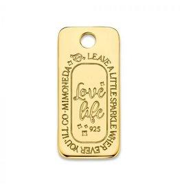 Mi Moneda Monogram MMM Love Life Square Tag Goudkleurig
