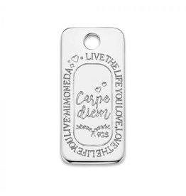 Mi Moneda Monogram MMM Carpe Diem Square Tag 925 Zilver
