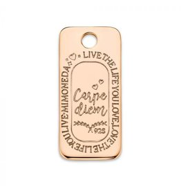 Mi Moneda Monogram MMM Carpe Diem Square Tag Rosé