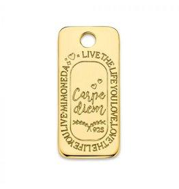 Mi Moneda Monogram MMM Carpe Diem Square Tag Goudkleurig