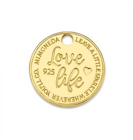 Mi Moneda Monogram MMM Love Life Tag 15mm Goudkleurig